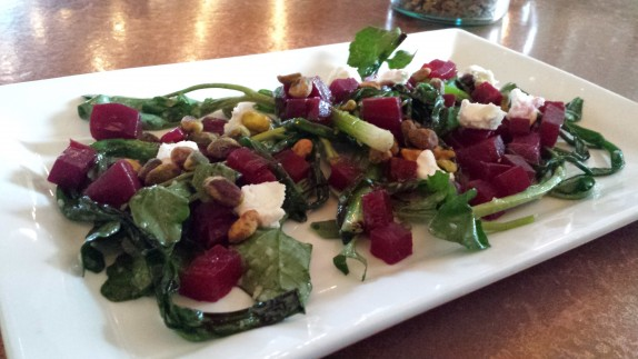 Beet Salad Roasted beets, watercress, goat cheese, scallions, pistachios, apple vinaigrette 13