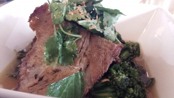 Slow Roasted Pork 25 Togarashi rubbed pork, kale, broccoli, dashi broth, herb salad and brown rice