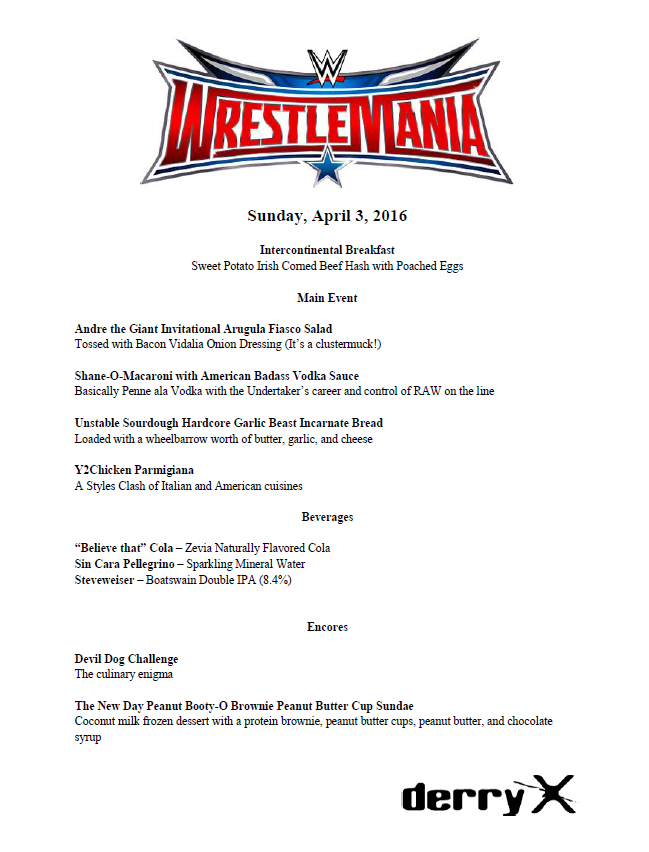 Wrestlemania 32 Menu