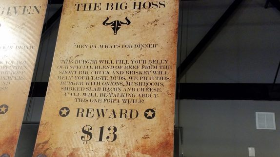 The Big Hoss Menu Board