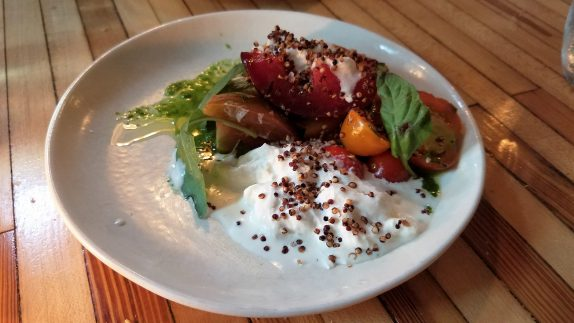 Heirloom tomatoes (Plums, stracciatella, puffed quinoa)
