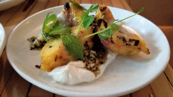 Grilled peach (ricotta, lardo, seeded honey)
