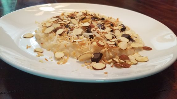 """Almond Joy"" Risotto (Toasted coconut, slivered almonds, dark chocolate)"